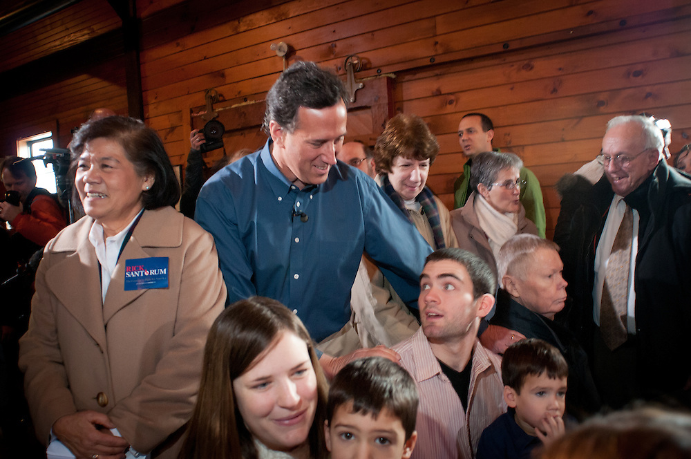 Presidential hopeful, Former Pennsylvania Senator Rick Santorum greets voters at a town hall meeting in Northfield, New Hampshire, fresh off his very strong showing in the Iowa Caucus.