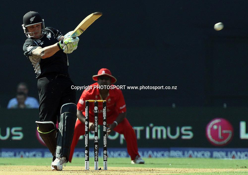 New Zealand batsman Brendon McCullum plays a shot aginsta Canada During the ICC Wolrd Cup-2011 Canada vs New Zealand match Played at Wankhede Stadium, Mumbai