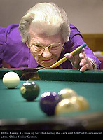 11-29-01 ch met jack n Jill2.jpg.(Marilynn Young/Daily Bulletin) Helen Kenny,83, lines them up while playing billiards during the Jack and Jill Pool Tournamnet on Thursday morning at the Chino Senior Center in Chino on Nov. 29, 2001. Kenny was part of the winning team in the double elimination tournament.