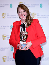 Nadia Stacey with her Best Makeup and Hair Bafta for The Favourite in the press room at the 72nd British Academy Film Awards held at the Royal Albert Hall, Kensington Gore, Kensington, London.