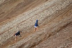 23.06.2011, Erzberg, Eisenerz, AUT, Erzbergrodeo, Rocket Ride, im Bild Besucher des Erzberrodeos erklimmen die steilen Hänge des eisernen Berges, EXPA Pictures © 2011, PhotoCredit: EXPA/ M. Kuhnke