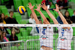 Mitja Gasparini #6 and Matevz Kamnik #7 of Slovenia during qualifications match for FIVB Men's World Championship 2014 between National team Slovenia and Israel in pool B on May 24, 2013 in SRC Stozice, Ljubljana, Slovenia. (Photo By Urban Urbanc / Sportida)
