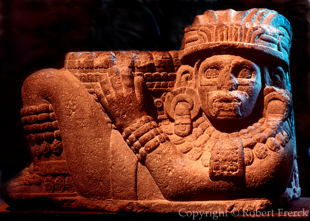 MEXICO, MEXICO CITY MUSEUM AZTEC: Chac-Mool, stone altar