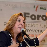 Toluca, México (Mayo 4, 2016).- Rosi Orosco, Presidenta de Unidos Contra la Trata durante la inauguración del Foro de Participación Ciudadana para la Prevención Social de la Violencia y la Delincuencia.  Agencia MVT / José Hernández.
