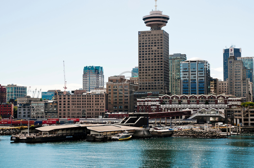 Harbour Centre and Waterfront Station on the shore of Burrard Inlet.