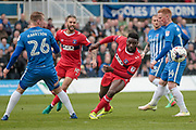 Jabo Ibehre (Carlisle United) watches the ball during the EFL Sky Bet League 2 match between Hartlepool United and Carlisle United at Victoria Park, Hartlepool, England on 14 April 2017. Photo by Mark P Doherty.