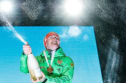11.02.2017, Medal Plaza, Hochfilzen, AUT, IBU Weltmeisterschaften Biathlon, Hochfilzen 2017, Sprint Herren, im Bild Sieger und Weltmeister Benedikt Doll (GER, Goldmedaillen Gewinner) // World Champion and Gold Medalist Benedikt Doll of Germany  during Winner Ceremony of the Mens Sprint of the IBU Biathlon World Championships during Winner Ceremony of the Mens Sprint of the IBU Biathlon World Championships at the Medal Plaza in Hochfilzen, Austria on 2017/02/11. EXPA Pictures © 2017, PhotoCredit: EXPA/ JFK