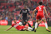 Middlesbrough defender Ben Gibson (6) tackles Aston Villa striker Jonathan Kodija (22) during the EFL Sky Bet Championship match between Middlesbrough and Aston Villa at the Riverside Stadium, Middlesbrough, England on 12 May 2018. Picture by Jon Hobley.