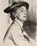 Ethel Mary Smyth (1858-1944) English composer and suffragette. She wrote the suffragettes' battle song 'The March of the Women' (1911), choral works, symphonies and operas 'Der Wald' (1901), 'The Wreckers' (1906) and 'The Boatswain's Mate' (1902). After a drawing by John Singer Sargent.  From 'The Sphere' (London, 26 July 1902).