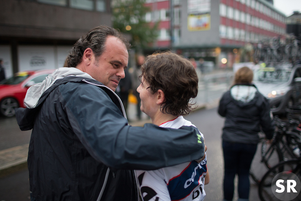 Cervélo-Bigla Cycling Team DS Thomas Campana congratulates Nicole Hanselmann (SUI) for winning the 76,1 km first stage of the 2016 Ladies' Tour of Norway women's road cycling race on August 12, 2016 between Halden and Fredrikstad, Norway. (Photo by Balint Hamvas/Velofocus)