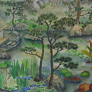 "Detail, left side of ""Japanese Pond"" 23 x 44, commission for private residence.  total width is 88"""