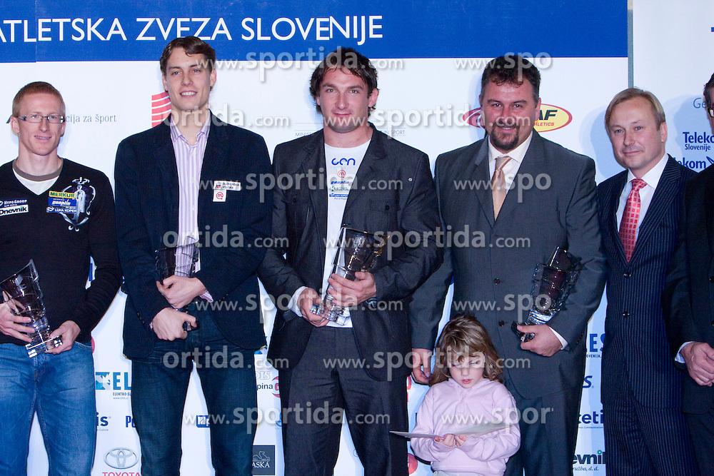 Matic Osovnikar, Rozle Prezelj, Primoz Kozmus, Vladimir Kevo and Peter Kukovica at Best Slovenian athlete of the year ceremony, on November 15, 2008 in Hotel Lev, Ljubljana, Slovenia. (Photo by Vid Ponikvar / Sportida)
