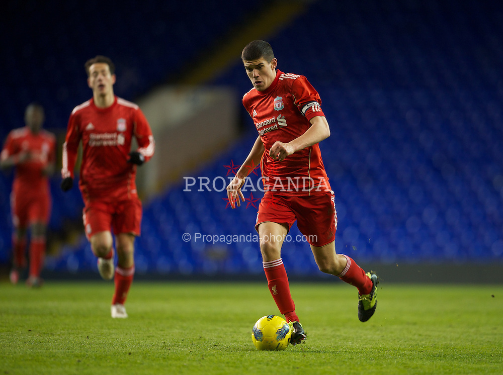 LONDON, ENGLAND - Wednesday, February 1, 2012: Liverpool's captain Conor Coady in action against Tottenham Hotspur during the NextGen Series Quarter-Final match at White Hart Lane. (Pic by David Rawcliffe/Propaganda)