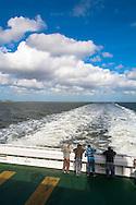 DEU, Germany, Schleswig-Holstein, on a ferry boat of the shipping company Wyker Dampfschiffs-Reederei from Dagebuell to Amrum island.<br /> <br /> DEU, Deutschland, Schleswig-Holstein, auf einer Faehre der Wyker Dampfschiffs-Reederei von Dagebuell nach Amrum.