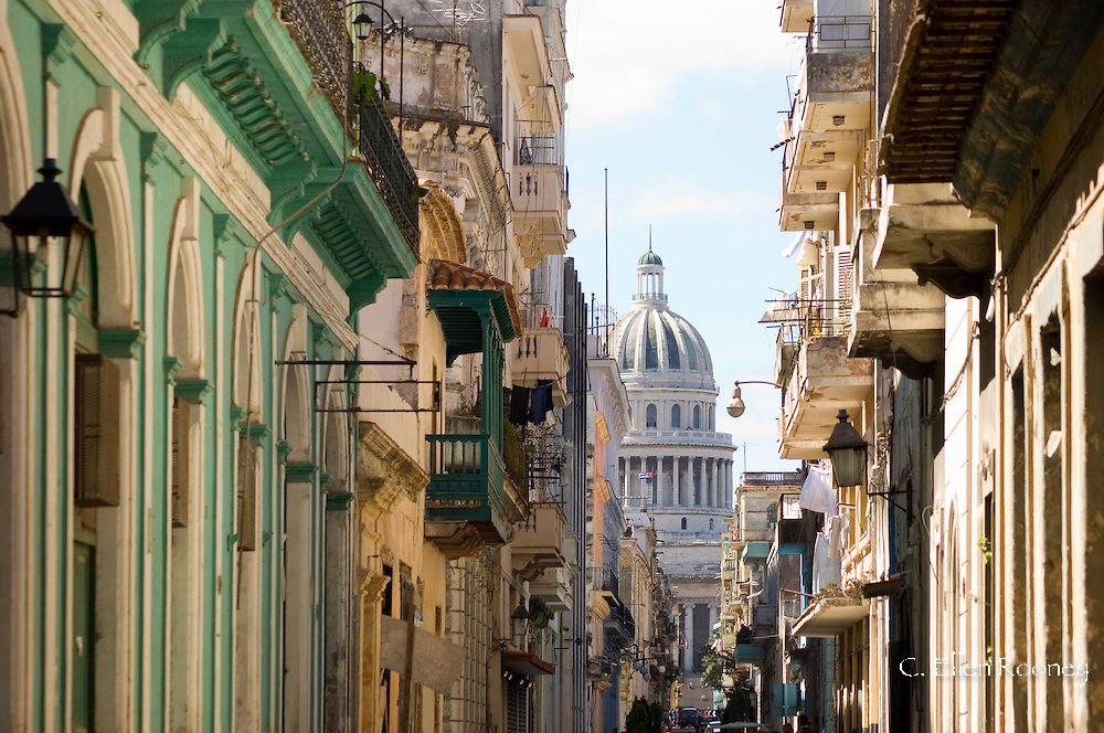 A view of the Capitolio seen through the streets of Habana Viejo (old town)<br /> Havana, Cuba<br /> c. Ellen Rooney