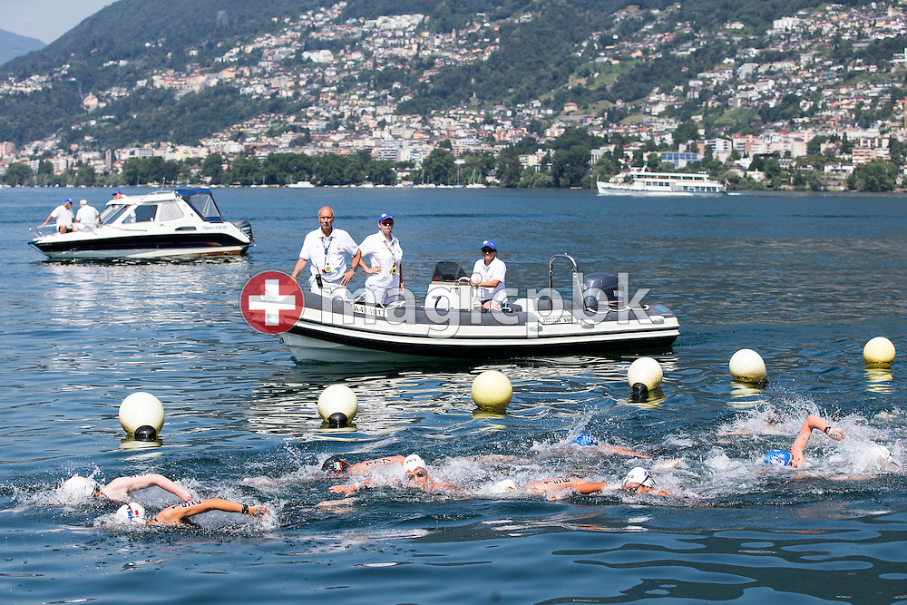 Referees on a boat supervise the Youth Girls 5km race during the LEN European Junior Open Water Swimming Championships held in the lake Maggiore (Lago Maggiore) at the Centro sportivo nazionale della gioventu in Tenero, Switzerland, Saturday, July 11, 2015. (Photo by Patrick B. Kraemer / MAGICPBK)
