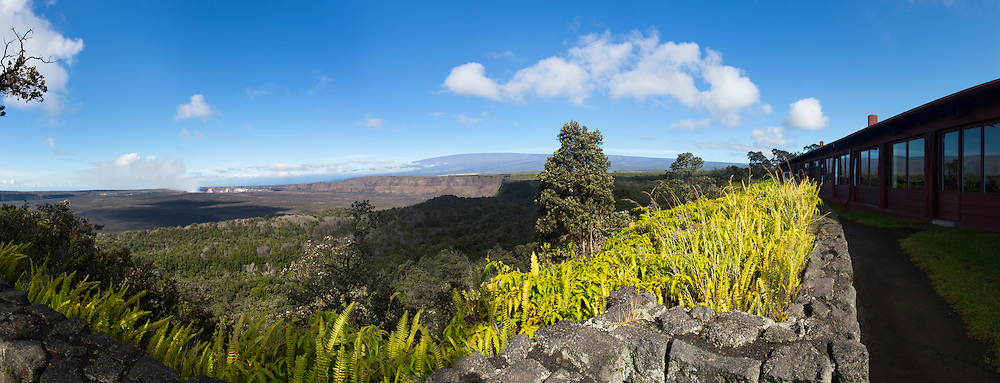 Halemaumau Crater from the Volcano House, Kilauea Volcano, HVNP, Big Island of Hawaii