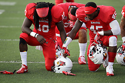 02 September 2017:   Davontae Harris and James Graham take each others hand in prayer before the Butler Bulldogs at  Illinois State Redbirds Football game at Hancock Stadium in Normal IL (Photo by Alan Look)