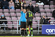 Forest Green Rovers midfielder Ebou Adams (14) shown a yellow card, booked  during the EFL Sky Bet League 2 match between Northampton Town and Forest Green Rovers at the PTS Academy Stadium, Northampton, England on 14 December 2019.