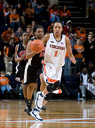 Virginia forward Lyndra Littles (1) takes the ball up court against Maryland.  The Virginia Cavaliers women's basketball team fell to the #4 ranked Maryland Terrapins 74-62 at the John Paul Jones Arena in Charlottesville, VA on January 18, 2008.