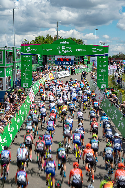 General view of riders during Stage 2 of  the OVO Energy Women's Tour 2019 at Cyclopark, Gravesend, United Kingdom on 11 June 2019.