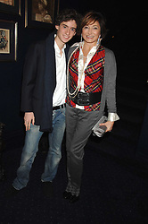 DORIT MOUSSAIEFF wife of the President of Iceland and her son JOHNNY COHEN at a party to celebrate the publication of the 2007 Tatler Little Black Book held at Tramp, 40 Jermyn Street, London on 7th November 2007.<br />