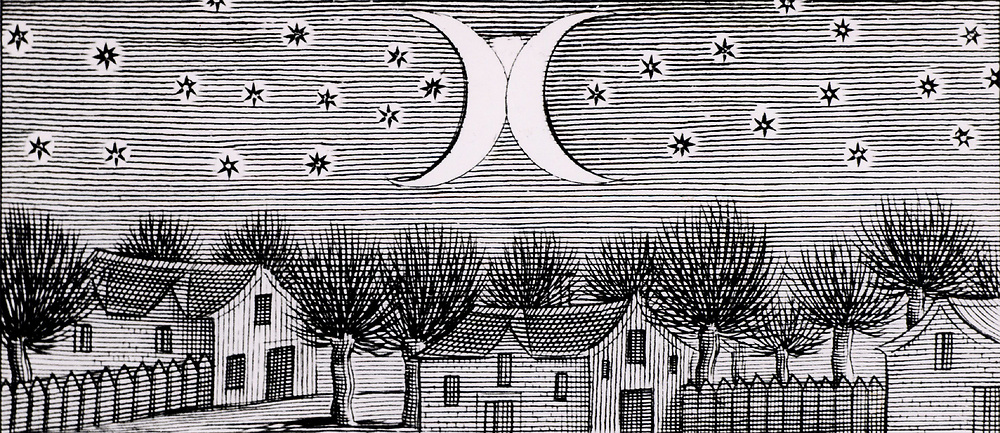 The comet of 812 directly approaching Earth. The crescent shapes are really streamers from the tail seen head-on, the central part of the crescents and the white patch above where they join is the head of the comet.  From 'Historia universalis omulum cometarum' by Stanislaus de Lubienietski (Amsterdam, 1666). Engraving.