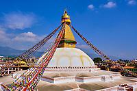Nepal, Vallee de Kathmandu, Stupa bouddhiste de Bodnath // Nepal, Kathmandu valley, Buddhist stupa of Bodnath