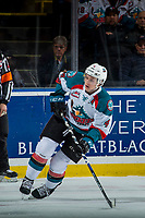 KELOWNA, CANADA - MARCH 7:  Gordie Ballhorn #4 of the Kelowna Rockets skates against the Vancouver Giants on March 7, 2018 at Prospera Place in Kelowna, British Columbia, Canada.  (Photo by Marissa Baecker/Shoot the Breeze)  *** Local Caption ***