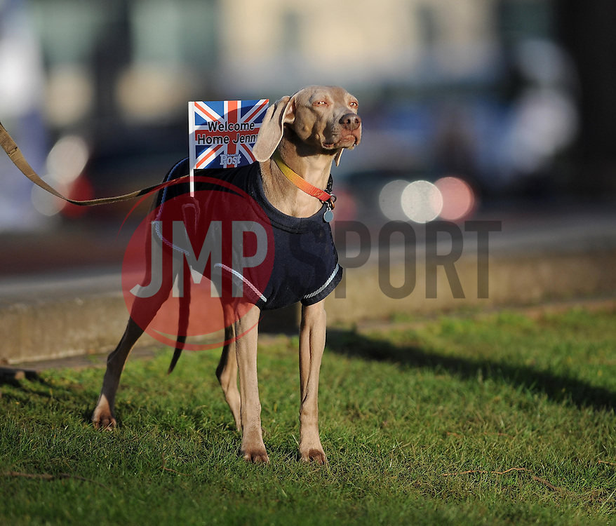 "A dog has a union jack flag attached which reads ""Welcome Home Jenny"" - Photo mandatory by-line: Dougie Allward/JMP - Tel: Mobile: 07966 386802 03/03/2014 -"