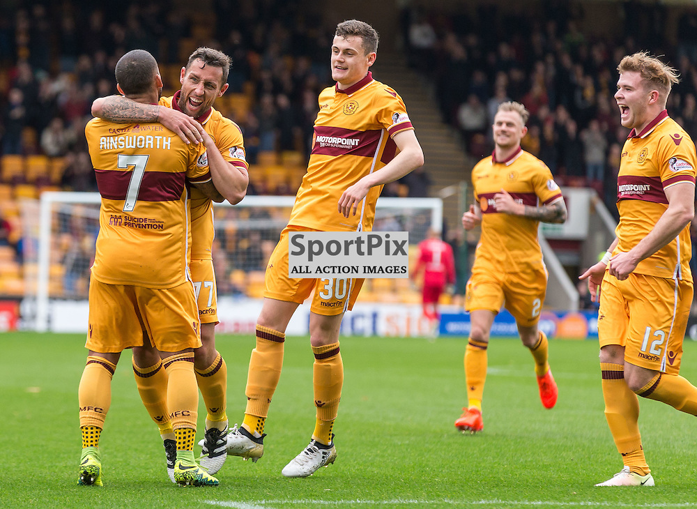 Scott McDonald celebrates during the match between Motherwell and Ross County (c) ROSS EAGLESHAM | Sportpix.co.uk