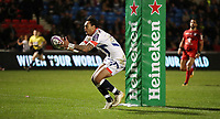 Rugby Union - 2017 / 2018 European Rugby Challenge Cup - Pool Two: Sale Sharks vs. Stade Toulousain (Toulouse)<br /> <br /> Denny Solomona of Sale Sharks gets on the end of a kick to score a try at AJ Bell Stadium.<br /> <br /> COLORSPORT/LYNNE CAMERON