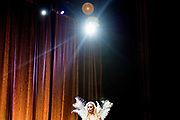 LOS ANGELES, CA - OCTOBER 22, 2016:  <br /> <br /> Representing the great state of New Hampshire, Claudia, wears angel wings as part of her evening wear outfit, during the Transnation Queen USA 2016 pageant, a transgender beauty pageant held at The Theater at The Ace Hotel in downtown Los Angeles.<br /> <br /> (Melissa Lyttle for The Guardian)