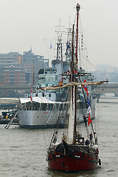 © Licensed to London News Pictures. 06/09/2014. Spanish schooner Atyla going under Tower Bridge. The biggest tall shop event on the Thames has continued across the weekend. Up to a million people are expected to visit Greenwich during the course of the Royal Greenwich Tall Ships Festival which has brought 50 vessels to the capital. Credit : Rob Powell/LNP
