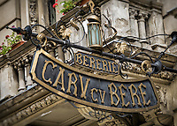 BUCHAREST, ROMANIA - September 30, 2012: Sign at Carv CV Bere, a traditional restaurant in the Lipscani District in old town Bucharest