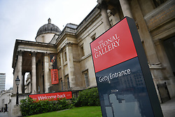 © Licensed to London News Pictures. 08/07/2020. Trafalgar Square, London, UK. The National Gallery reopens its doors to the public after a closure of 111 days. Visitors are allowed into the gallery at controlled intervals having booked time slots online as the institution applies social distancing during the coronavirus outbreak. Photo credit: Guilhem Baker/LNP.