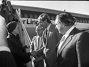 Princess Grace Arrives For The Theatre Festival. (M96)..1979..18.10.1979..10.18.1979..18th October 1979..Today saw the arrival of Princess Grace of Monaco,formerly the actress Grace Kelly,to Dublin to attend the Dublin Theatre Festival. The images show her arrival at Dublin Airport..Picture shows that the Minister of State at the Dept of Foreign Affairs, Mr David Andrews TD, was on hand to greet Princess Grace.