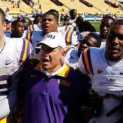 October 1, 2011; Baton Rouge, LA, USA;  LSU Tigers head coach Les Miles and players offensive tackle Alex Hurst (72), quarterback Jordan Jefferson (9) following a win over the Kentucky Wildcats at Tiger Stadium. LSU defeated Kentucky 35-7. Mandatory Credit: Derick E. Hingle-US PRESSWIRE / © Derick E. Hingle 2011