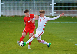 BANGOR, WALES - Monday, October 15, 2018: Wales' Jack Vale (L) and Poland's Michal Ozga during the UEFA Under-19 International Friendly match between Wales and Poland at the VSM Bangor Stadium. (Pic by Paul Greenwood/Propaganda)