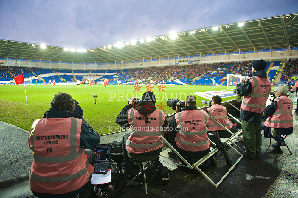 CARDIFF, WALES - Saturday, November 14, 2009: Photographers covering the Wales versus Scotland international friendly match at the Cardiff City Stadium. (Pic by David Rawcliffe/Propaganda)