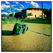 13 NOVEMBER 2011 - PHOENIX, AZ: An infant's sandal on the sidewalk in Phoenix, AZ.  PHOTO BY JACK KURTZ