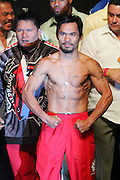 Manny Pacquiao weighs in for the Light Welterweight title fight between Ricky Hatton and Manny Pacquiao at the MGM Grand, Las Vegas, 1st May 2009.