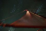 Night sail - Corwith Cramer is a 134-foot steel brigantine built as a research vessel for operation under sail. Sargasso Sea, Bermuda | Schaut man auf dem Deck liegend in den Sternenhimmel, so bewegen sich die Sterne in bizarren Mustern, die die pendelbewegung des Bootes wiederspiegeln. Der Forschungssegler Corwith Cramer durchquert im April 2014 die Sargasso See von Puerto Rico kommend bis zu den Bermuda Inseln.