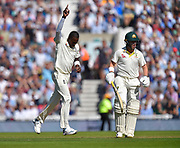 Wicket - Jofra Archer of England celebrates taking the wicket of Marcus Harris of Australia during the 5th International Test Match 2019 match between England and Australia at the Oval, London, United Kingdom on 13 September 2019.