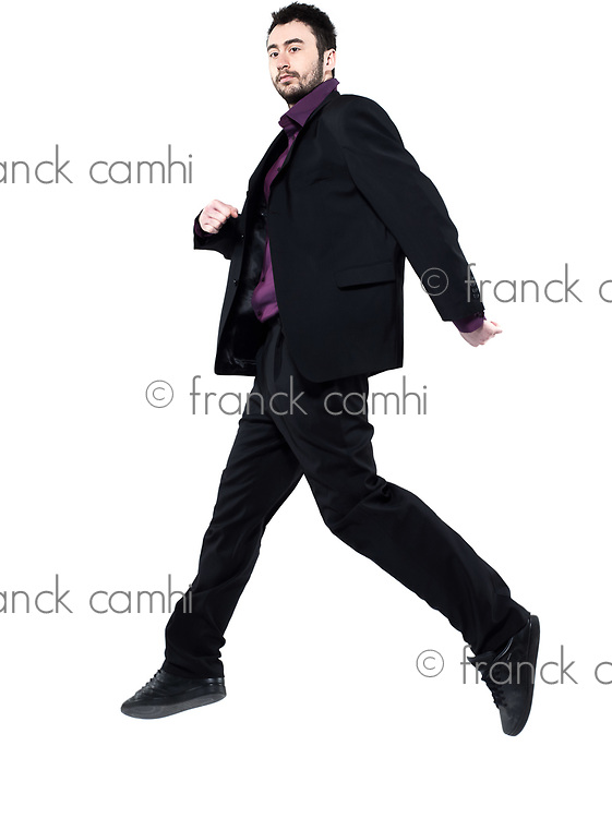 strange man attitude man on isolated white background jumping