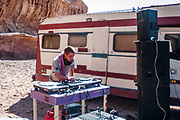 Man with turntables at Middle East Tek, Wadi Rum, Jordan, 2008