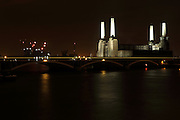 Battersea Power Station at night, London