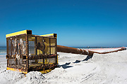 Redington Beach, Pinellas County, Florida, USA., Monday, 15th October, 2018, Beach Replenishment, Boxed, Cage Sand filter, © Peter Spurrier,