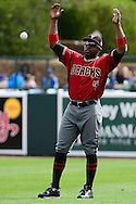GLENDALE, AZ - MARCH 05:  Jason Bourgeois #4 of the Arizona Diamondbacks throws up a ball and his arms during warm ups prior to the spring training game against the Los Angeles Dodgers at Camelback Ranch on March 5, 2016 in Glendale, Arizona.  The Dodgers won 7-2.  (Photo by Jennifer Stewart/Getty Images) *** Local Caption *** Jason Bourgeois