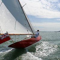 """ENGLAND, Solent. 31st July 2004. West Solent One Design """"Arrow"""" W1 helmed by owner Phil Plumtree."""